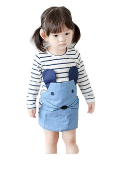 New Style Cotton Striped Long Sleeved Denim Dress for Girls Kids -