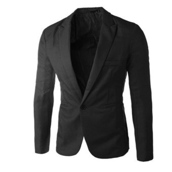 New style fashion Stylish Men's Blazer Coat Jacket Casual Slim FitOne Button Suit Black - intl