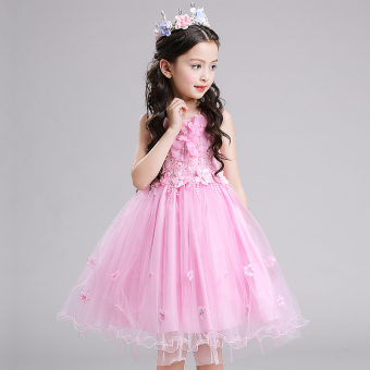 New style girls dress princess dress (Pink)