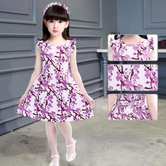 New style girls short sleeved dress (Purple flower) (Purple flower)