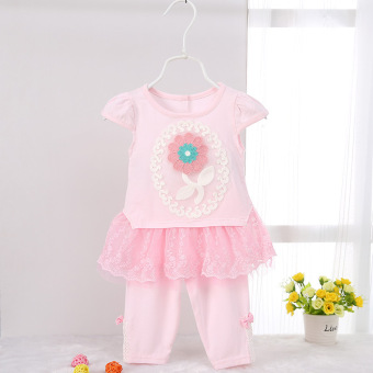 New style girls summer short sleeved children's dress (Pink)