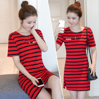New style Korean-style striped dress (Red) (Red)