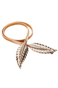 New Style Lady's Fashion Women Trendy Belt Alloy Leaf Waistband Waist Belt Elastic Straps (Gold)