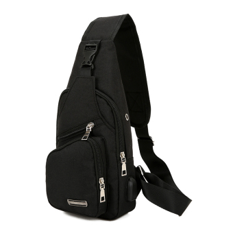 New style men's casual running bag (Black)