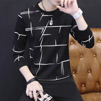 New style men's long-sleeved autumn hoodie base shirt (507 black)