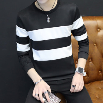 New style men's long-sleeved autumn hoodie base shirt (Large striped black)