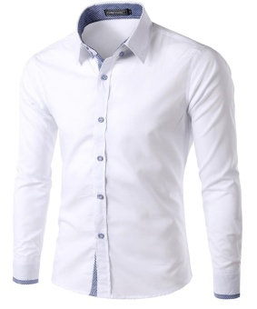 New Style Mens Classic Slim Fit Long Sleeve Dress Shirts WHite L -intl