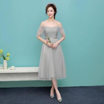 New style mid-length bridesmaid dress (1701 medium-length silver) (1701 medium-length silver)