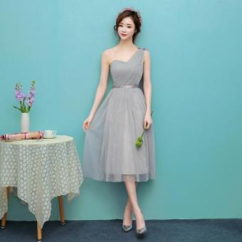 New style mid-length bridesmaid dress (1702 medium-length silver) (1702 medium-length silver)