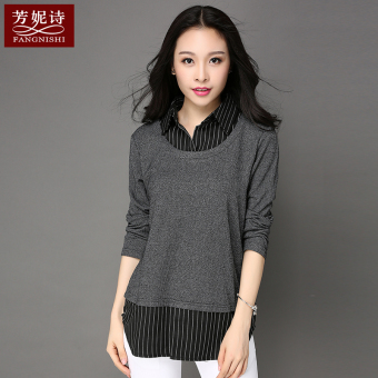 New style mid-length fake two-piece long-sleeved female Top T-shirt