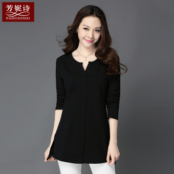 New style mid-length long-sleeved bottoming shirt T-shirt (Black) (Black)
