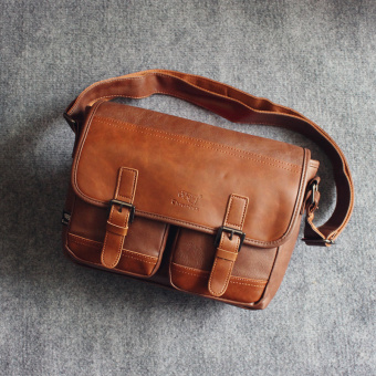 New style motorcycle bag men's bag (Light Brown)