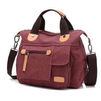 New style Portable Bag Korean-style plain weave bag (Purple coffee 1117 canvas bag)