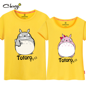 New style Slim fit slimming Korean-style short sleeved t-shirt (Yellow (Totoro couple's)) Price Philippines