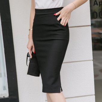 New style Slim fit with pockets high-waisted package hip dress medium-length dress (Black) (Black)