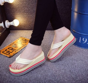 New style summer high-heeled celebrity inspired flip-flops (Off-white color)