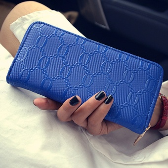 New style Women's portable clip leather wallet (Blue.)