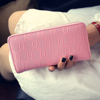 New style Women's portable clip leather wallet (Pink)