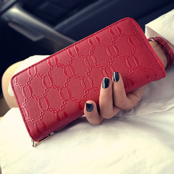 New style Women's portable clip leather wallet (Red.)