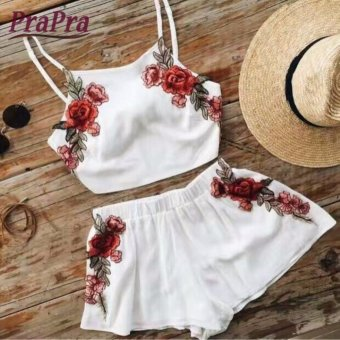 New Summer Women 2 Pcs Embroidery Strap Tops And Short Pants 2Pieces Clothing Set Sexy Crop Top Sleeveless Elasticated Waist -intl
