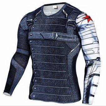 New Superhero Winter Soldier Bucky Superman Anime 3D T ShirtFitness Men Crossfit T-Shirt Long Sleeve Compression Shirt - intl - 2