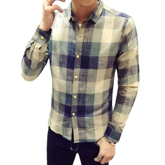New Winter Men's Cotton Long-sleeved Color Plaid Shirt - Intl