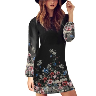 New Women Casual Fashion O-Neck Long Sleeve Print Chiffon MiniDress