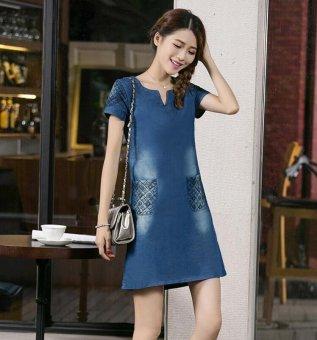 New Women Denim Dress Short-sleeved V Collar Loose Slim Was Thin Dress - intl - 5