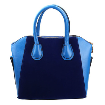 New Women PU Leather Frosted Handbag Shoulder Bags Tote Purse Bag Blue