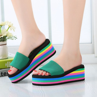 New Women's Casual Flip Flops Beach Sandals Rainbow High Platform Wedge Slippers