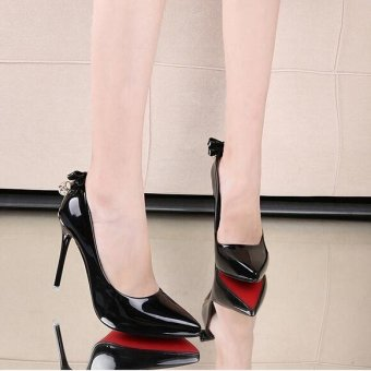 New Women's Patent Leather Rhinestones Party Wedding Shoes Stiletto High-Heeled D185 Color Black - intl