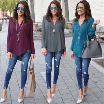 New Women's Spring Autumn Fashion V Neck Plus Size Chiffon Blouse Casual Long Sleeve Solid Color Loose Shirt Plus size S-5XL MGT-Grey Women Size XXXXL - intl