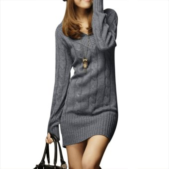 New Womens Long Sleeve Warm Winter Knit Slim Plus Size Tunic Sweater Dress-Gray - Intl