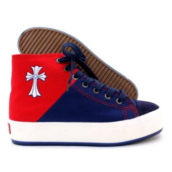 New York Sneakers Aviana High Cut Shoes (Blue/Red) - 3