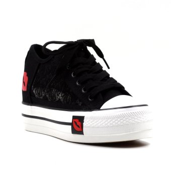 New York Sneakers Brielle Platform High Cut Shoes (Black)