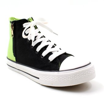New York Sneakers Cerys High Cut Shoes (Black/Chartreuse/Green)
