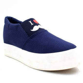 New York Sneakers I Love Mustache Slip-On Shoes (Blue)