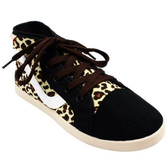 New York Sneakers Leopard Print High Cut Shoes (Brown)