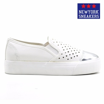 New York Sneakers Pavey Slip On Shoes(WHITE/SILVER) - 2