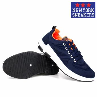 New York Sneakers Tony Rubber Shoes 6055(NAVY/ORANGE) - 3