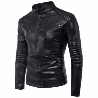Newest Men Motorcycle PU Leather Jackets Solid Casual Outerwear - intl - 2