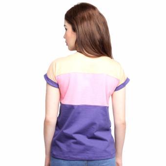 Newyork Army Multicolor Blue, Pink & Orange Mega Sleeves RoundNeck T-Shirt For Ladies - 2