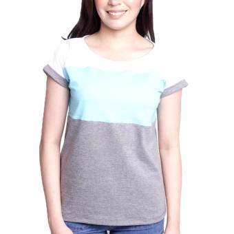 Newyork Army Multicolor Gray, Aqua & White Mega Sleeves RoundNeck T-Shirt For Ladies - 4