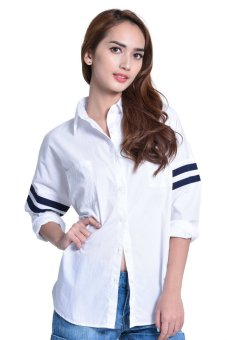 Next 92-010 Loose Polo With Striped Sleeves (White)