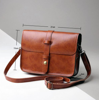 niceEshop Women Fashion PU Leather Messenger Bag Shoulder Bag (Brown)
