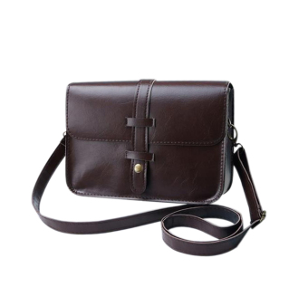 niceEshop Women Fashion PU Leather Messenger Bag Shoulder Bag (DarkBrown)(International)