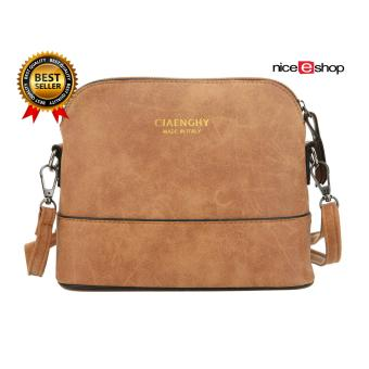 niceEshop Women Vintage Frosted PU Leather Messenger Bag, Light Brown