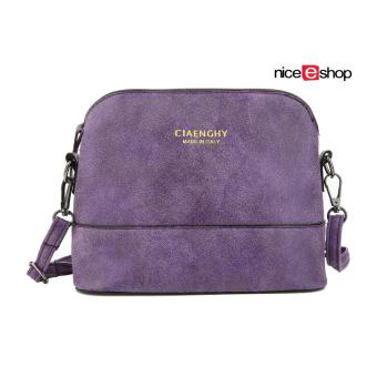 niceEshop Women Vintage Frosted PU Leather Messenger Bag, Purple