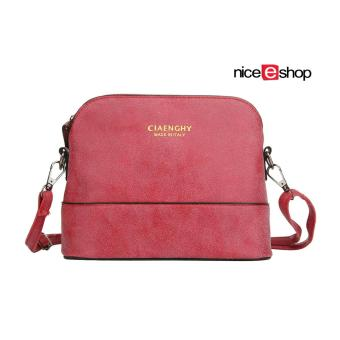 niceEshop Women Vintage Frosted PU Leather Messenger Bag, Red