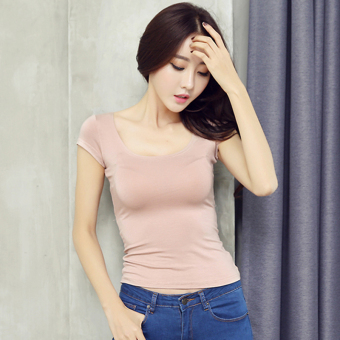 Nightclub female short-sleeved New style halter Top T-shirt (Pink color)